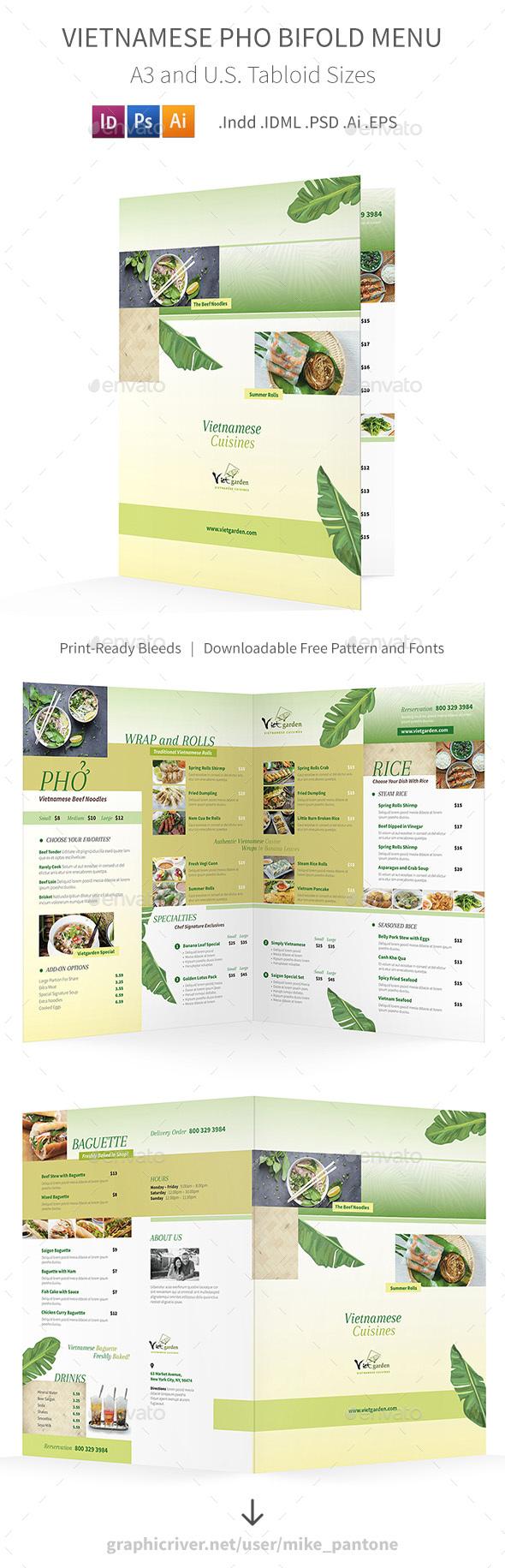 Vietnamese Pho Bifold / Halffold Menu 3 - Food Menus Print Templates