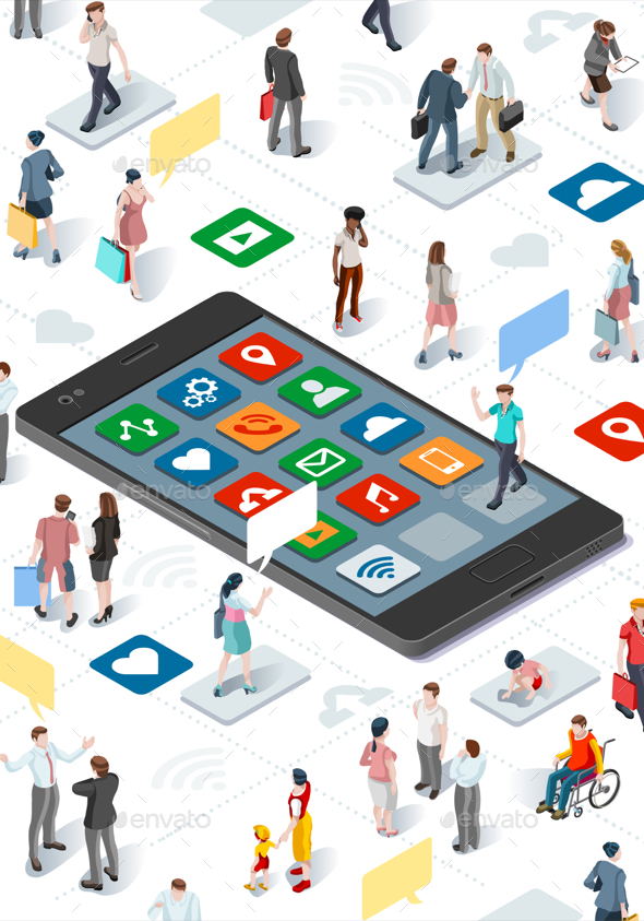 People Community and Isometric Smartphone Vector Infographic - Communications Technology