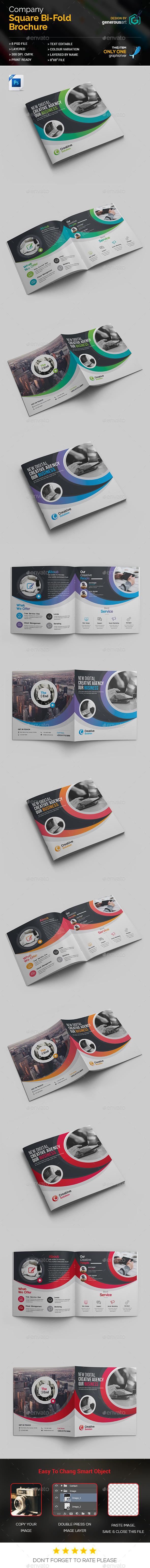 Square Bi-Fold Template - Brochures Print Templates