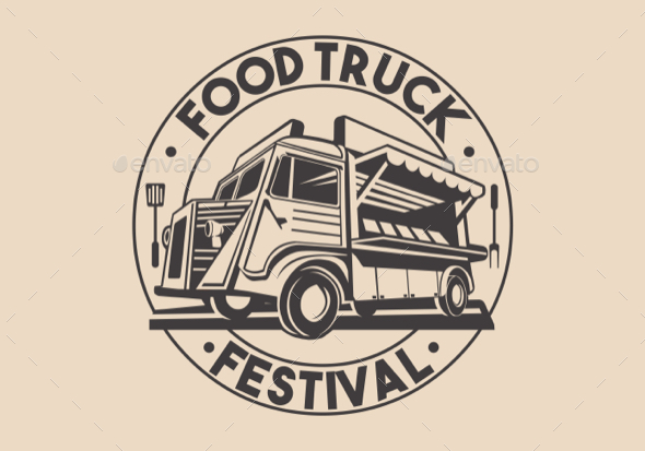 Restaurant Delivery Service Food Truck Vector Logo - Food Objects