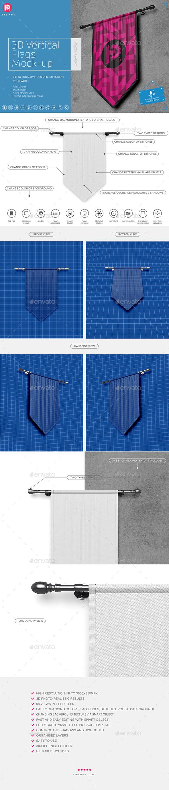 GraphicRiver 3D Vertical Flags Mock-Up set 1 20356461