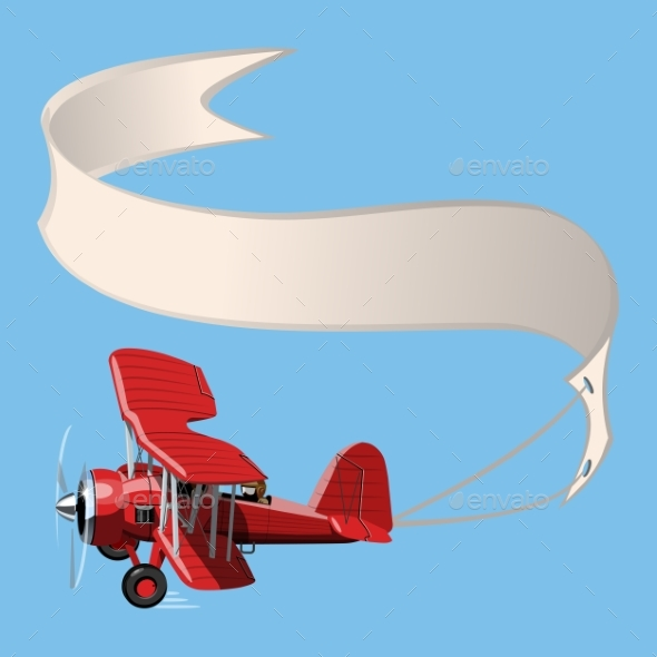 Cartoon Biplane with Banner - Man-made Objects Objects