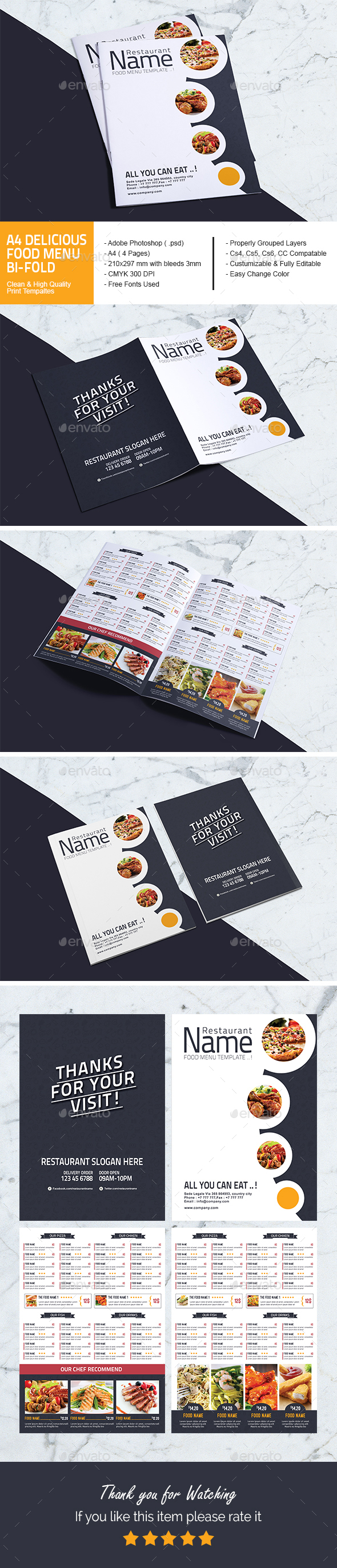 A4 Delicious Food Menu Bi-Fold - Food Menus Print Templates