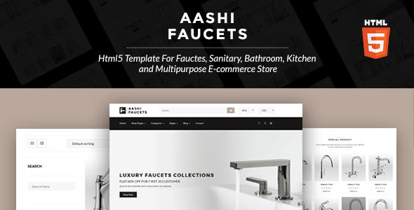 Aashi Faucets - HTML5 Template for Faucets, Sanitary, Bathroom, Kitchen and Multipurpose E-commerce