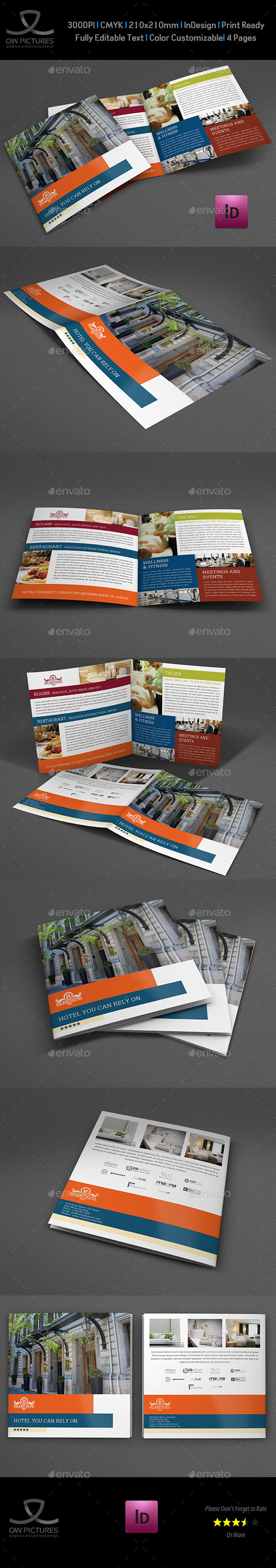 Hotel and Motel Bi-Fold Brochure Template - Brochures Print Templates