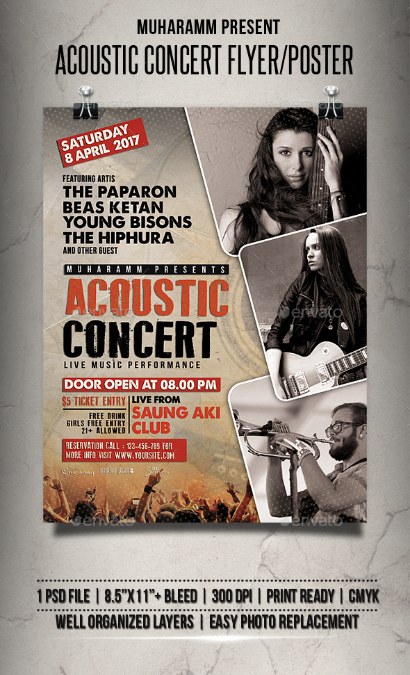 Acoustic Concert Flyer / Poster - Events Flyers