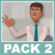 Black Male Doctor And Black Female Patient Cartoon Characters Pack 2