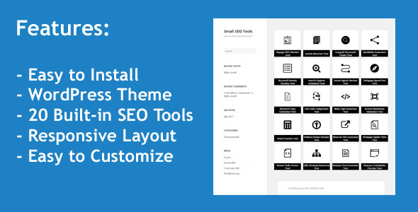 CodeCanyon Small SEO Tools WordPress Theme with 20 built-in SEO Tools 20355272