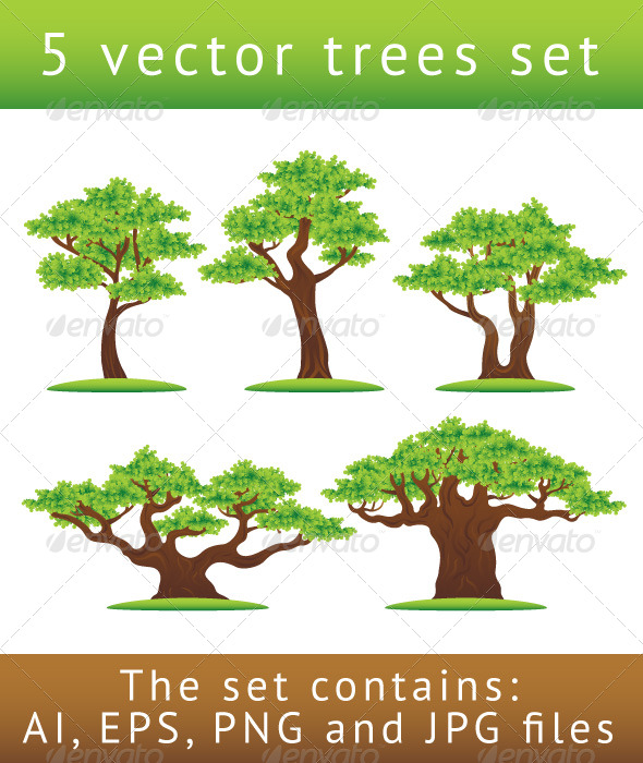 Green oak trees vector illustrations set - Flowers & Plants Nature