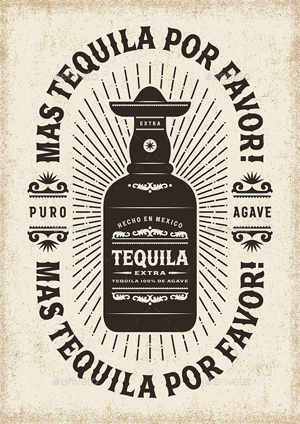 Vintage Mas Tequila Por Favor (More Tequila Please) Typography - Food Objects