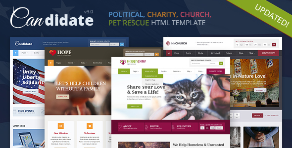 Candidate - Political, Nonprofit, Church, Pet Rescue HTML Theme