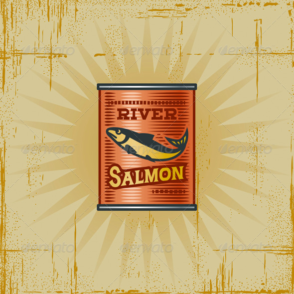 Retro Salmon Can - Food Objects