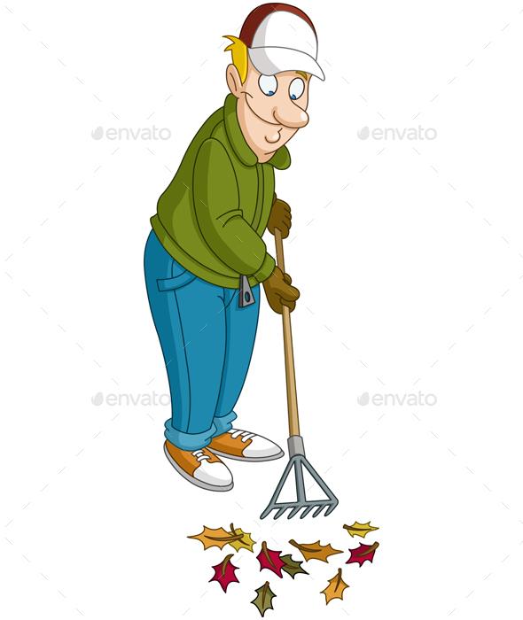 Man Raking Leaves - People Characters