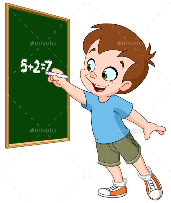 Boy Writing on Blackboard - People Characters