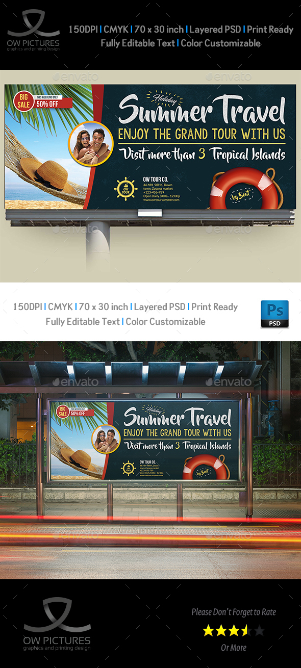 Tour and Travel Billboard Template Vol.3 - Signage Print Templates
