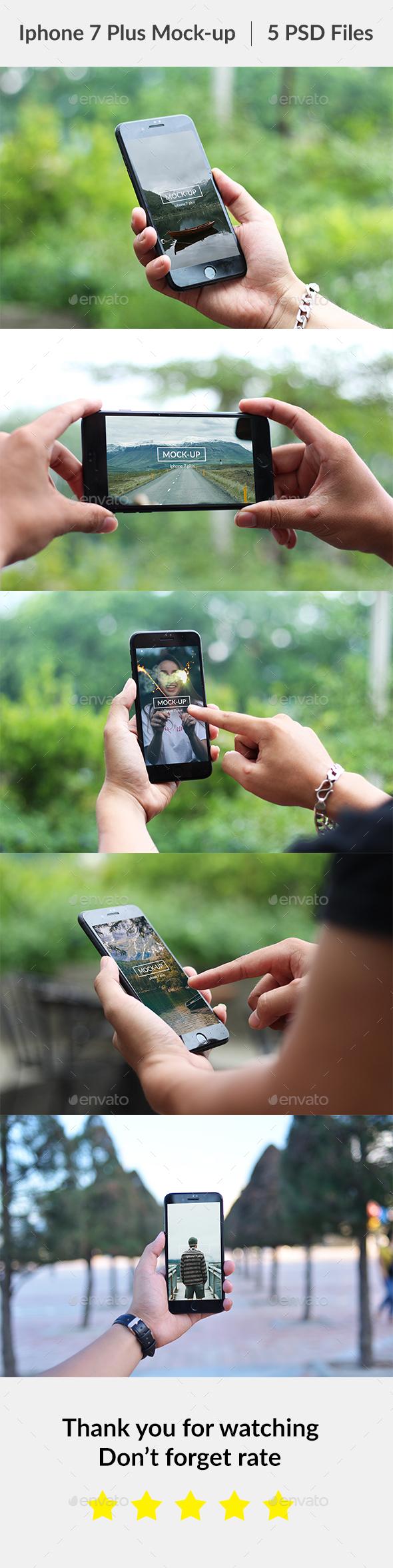 Phone 7 Plus Hand on Mockup - Mobile Displays