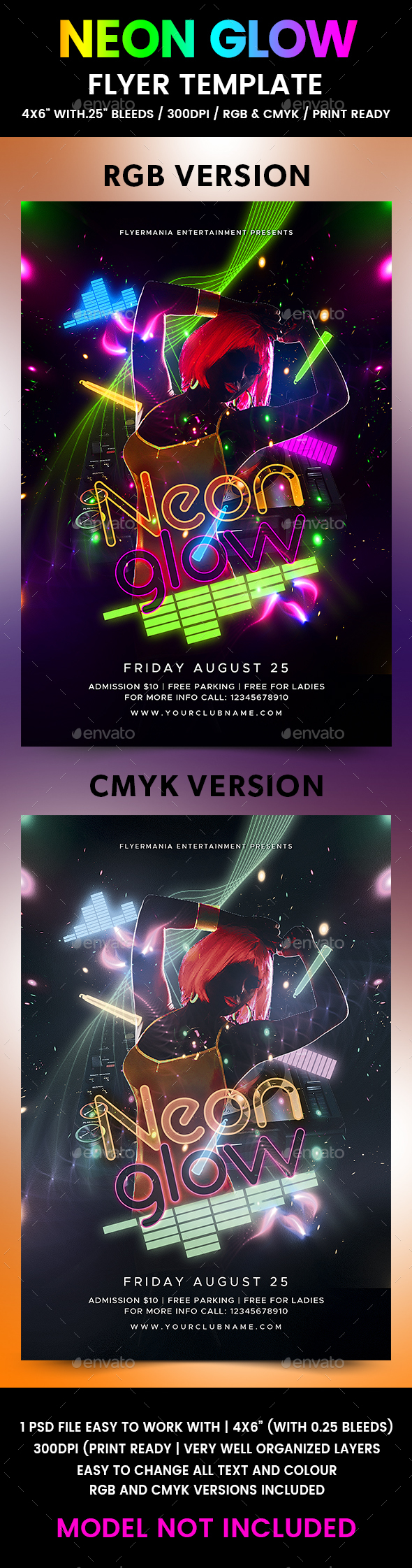 Neon Glow Flyer Template - Flyers Print Templates