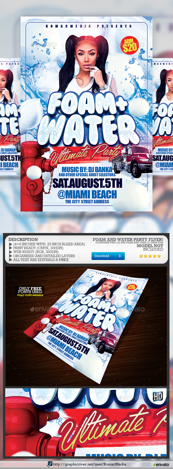 Foam and Water Party Flyer - Clubs & Parties Events