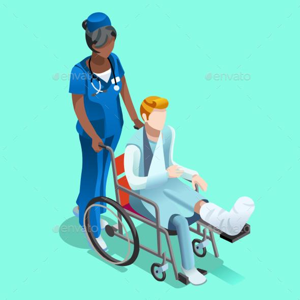 Vector Black Female Nurse and Patient Isometric People - Health/Medicine Conceptual