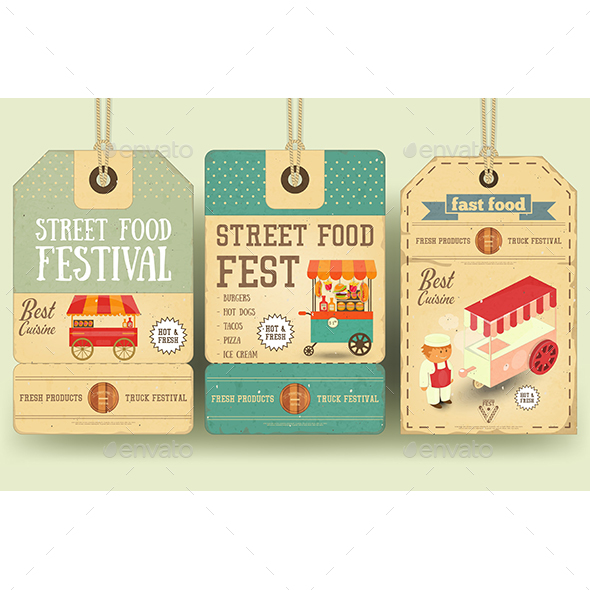 Street Food Festival Price Tags - Food Objects