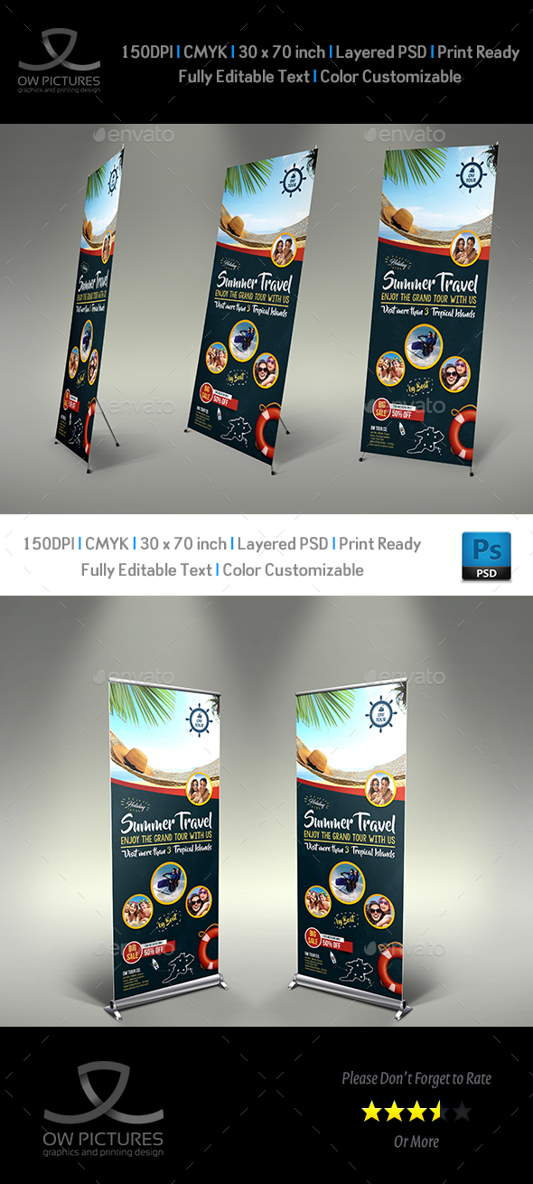 Tour and Travel Signage Roll Up banner Template Vol.3 - Signage Print Templates