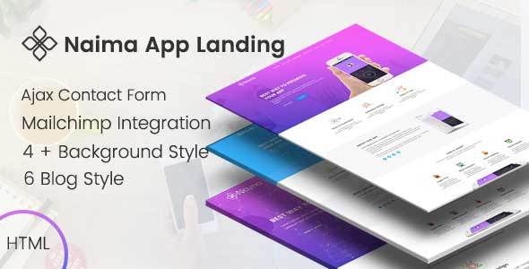 Naima - App Landing Page - Technology Site Templates