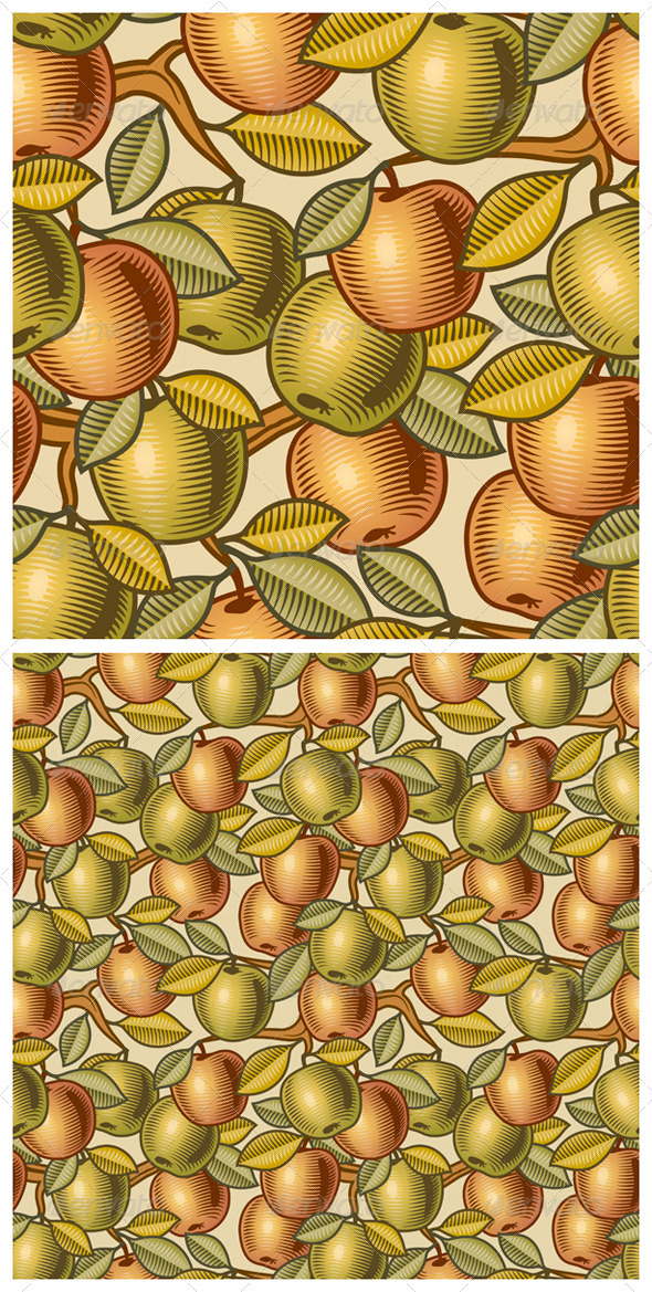 Seamless Apple Background - Food Objects