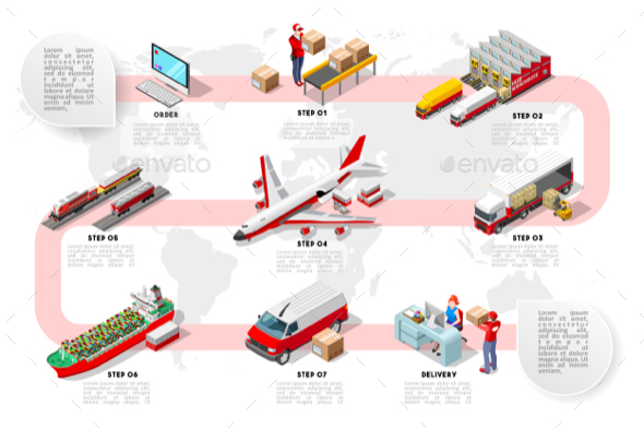 International Trade Logistics Network Isometric Infographic Vector - Industries Business