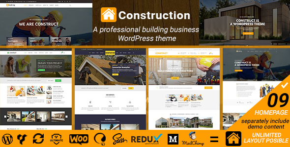 Construct - Construction Renovation Building Business WordPress Theme - Business Corporate