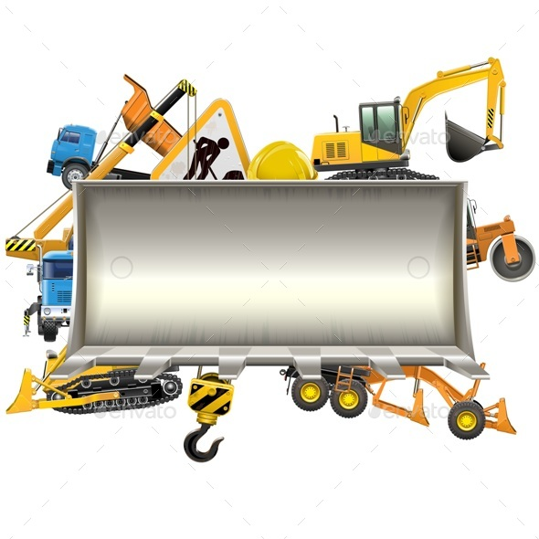 GraphicRiver Vector Construction Frame with Bulldozer Shovel 20361002