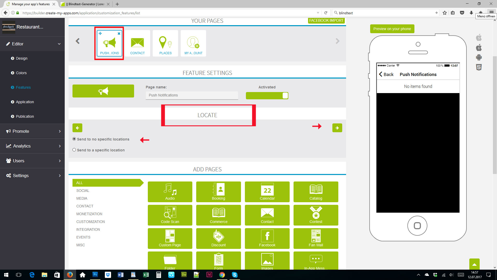Ios android restaurant app with cms by create my apps