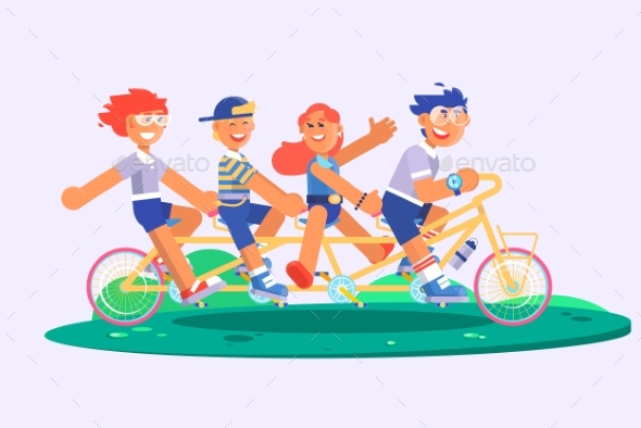 Family Tandem Bicycle Cartoon Concept with Parents - People Characters