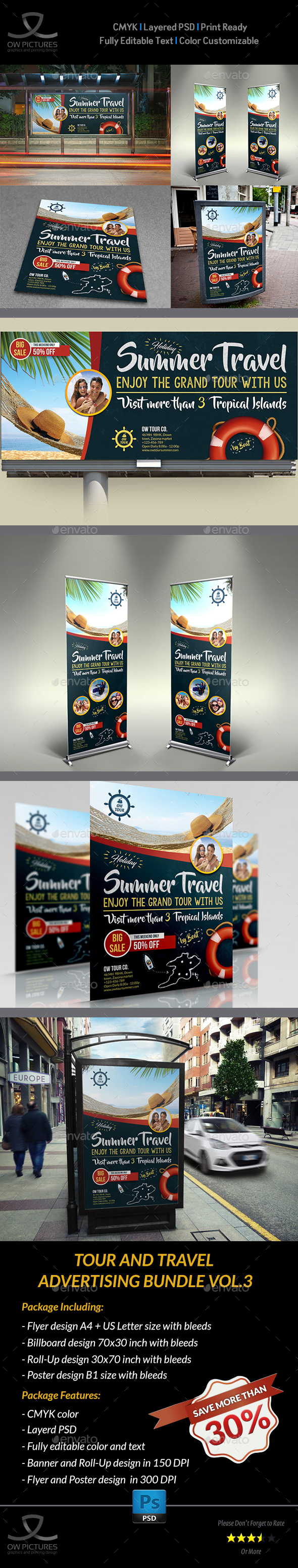 Tour and Travel Advertising Bundle Vol.3 - Signage Print Templates