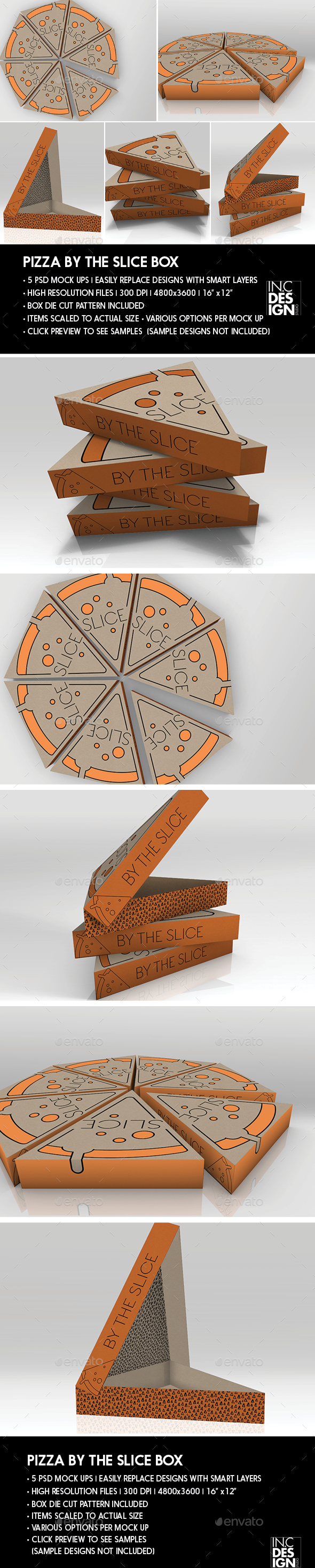 Packaging Mock Up Pizza Slice Box