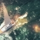Aerial View of Luxury Medium Cruise Ship Sailing From Port on Sunrise Through the Bay - VideoHive Item for Sale