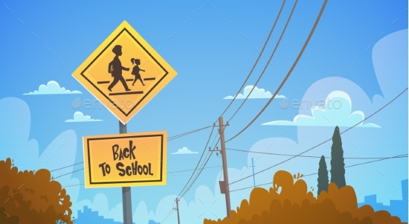 Back To School Road Sign Over Blue Sky - Miscellaneous Vectors