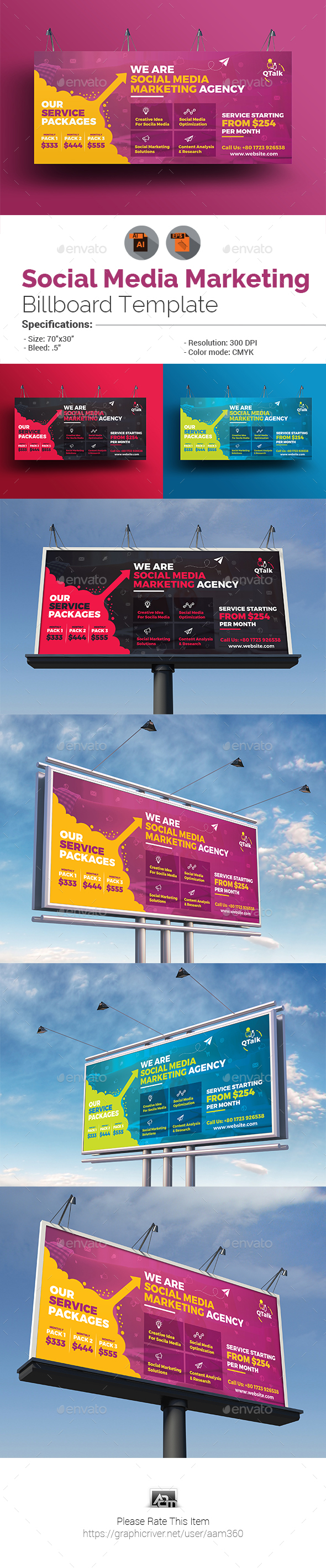 GraphicRiver Social Media Marketing Billboard Template 19962965