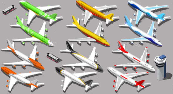 Vector Isometric Airplane - Man-made Objects Objects