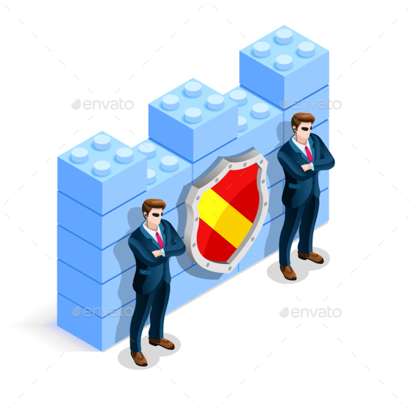 Vector Isometric Firewall Cyber Crime Protection - Miscellaneous Conceptual