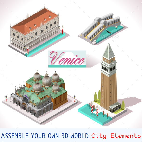 Venice Isometric Buildings Vector Game Icon Set - Buildings Objects