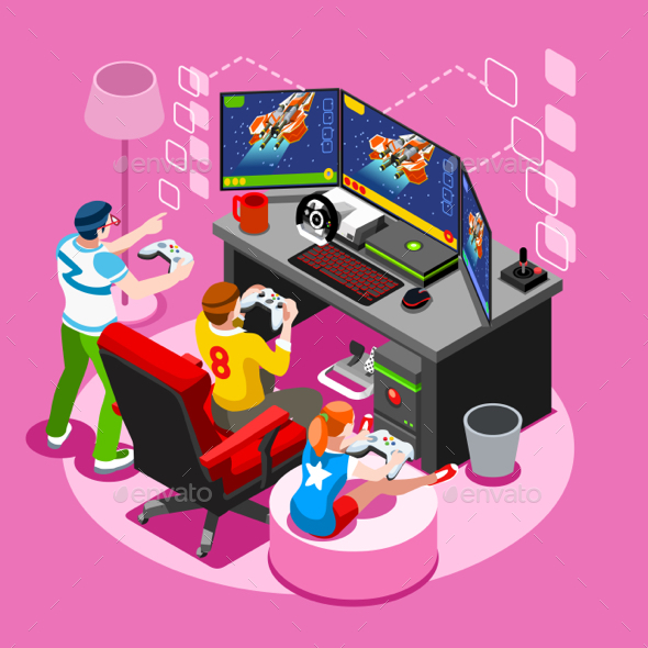Video Game Isometric People Vector Illustration - Computers Technology