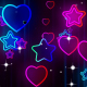 Neon Heart Star Background