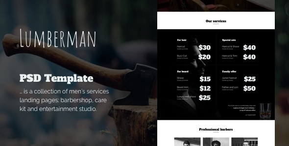Lumberman - Men's Services PSD Template - Entertainment PSD Templates