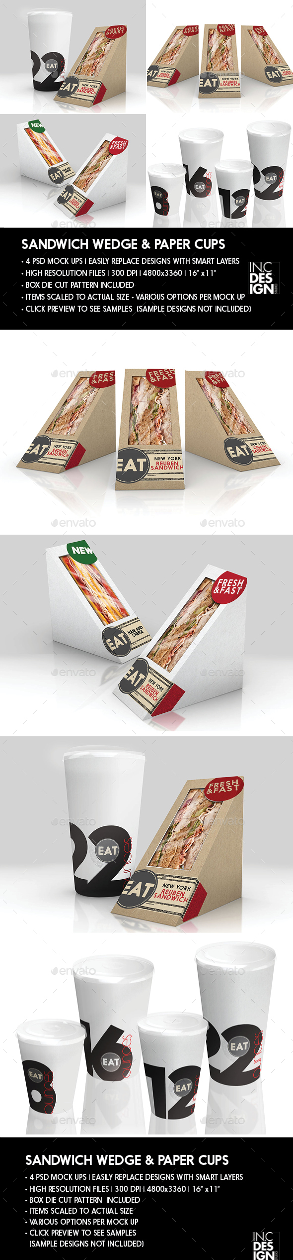 Packaging  Mock Up Sandwich Wedge Box and Soda Paper Cup Set - Product Mock-Ups Graphics