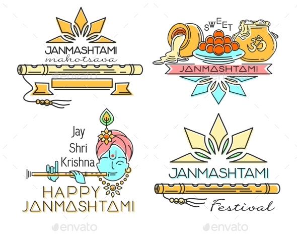 Line Logo Icons Set for Krishna Janmashtami - Miscellaneous Vectors