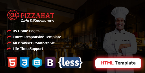 Pizzahat HTML5 Responsive Restuarant Template - Restaurants & Cafes Entertainment
