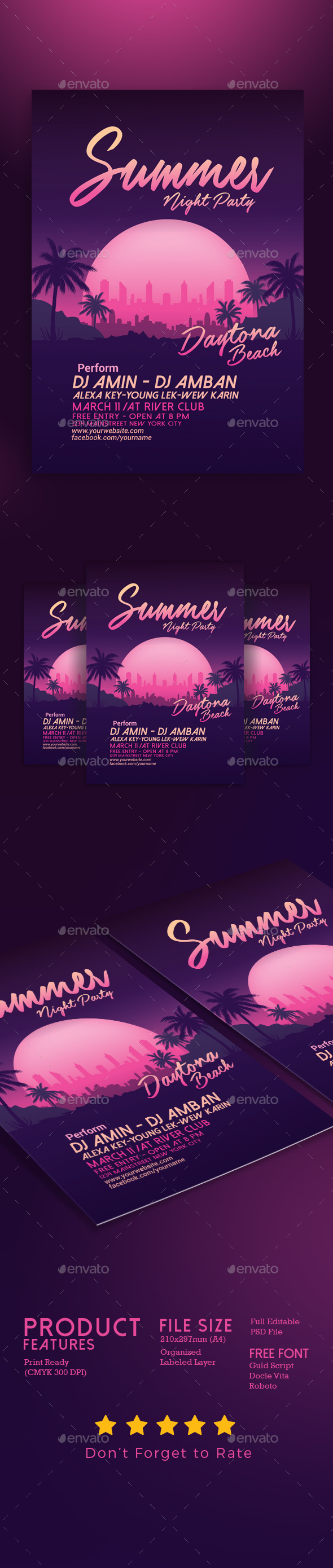 Summer Night Beach Party - Events Flyers