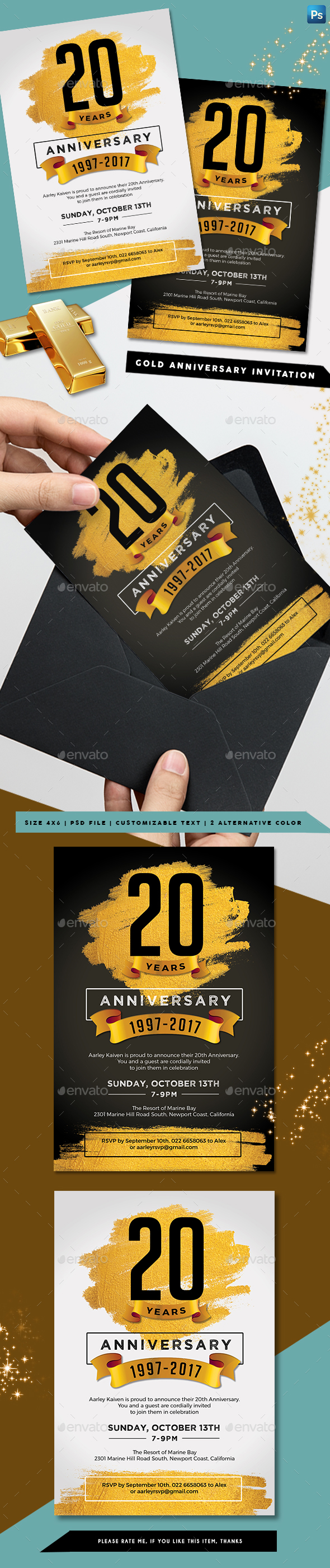 Gold Anniversary Invitation - Anniversary Greeting Cards