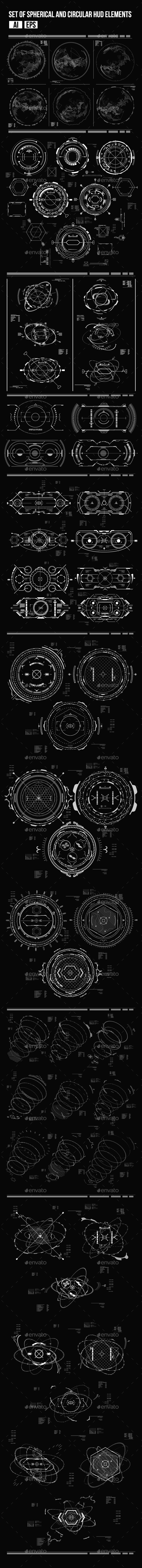 Set of Futuristic Circular HUD Elements - Computers Technology