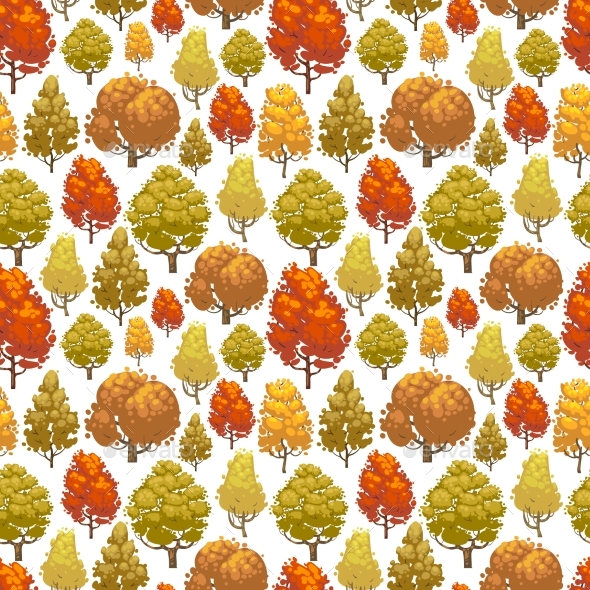 Colorful Autumn Forest Seamless Pattern Design - Miscellaneous Vectors